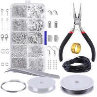 10 Grids Metall Schmuck Herstellung Kit DIY Halskette Materialien Reparatur Werkzeug Mit Zubehör Erkenntnisse Und Friesen Drähte Erwachsene Liefert