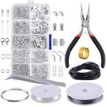Kit de fabricación de joyas de Metal de 10 rejillas herramienta de reparación de materiales de collar DIY con accesorios y cables de cuentas suministros para adultos