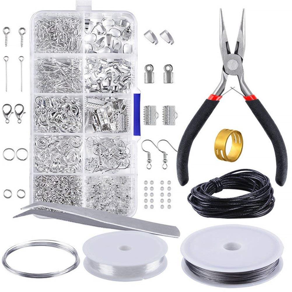 Kit de fabrication de bijoux en métal 10 grilles outil de réparation de matériaux de collier à faire soi-même avec accessoires et fils de perles fournitures pour adultes