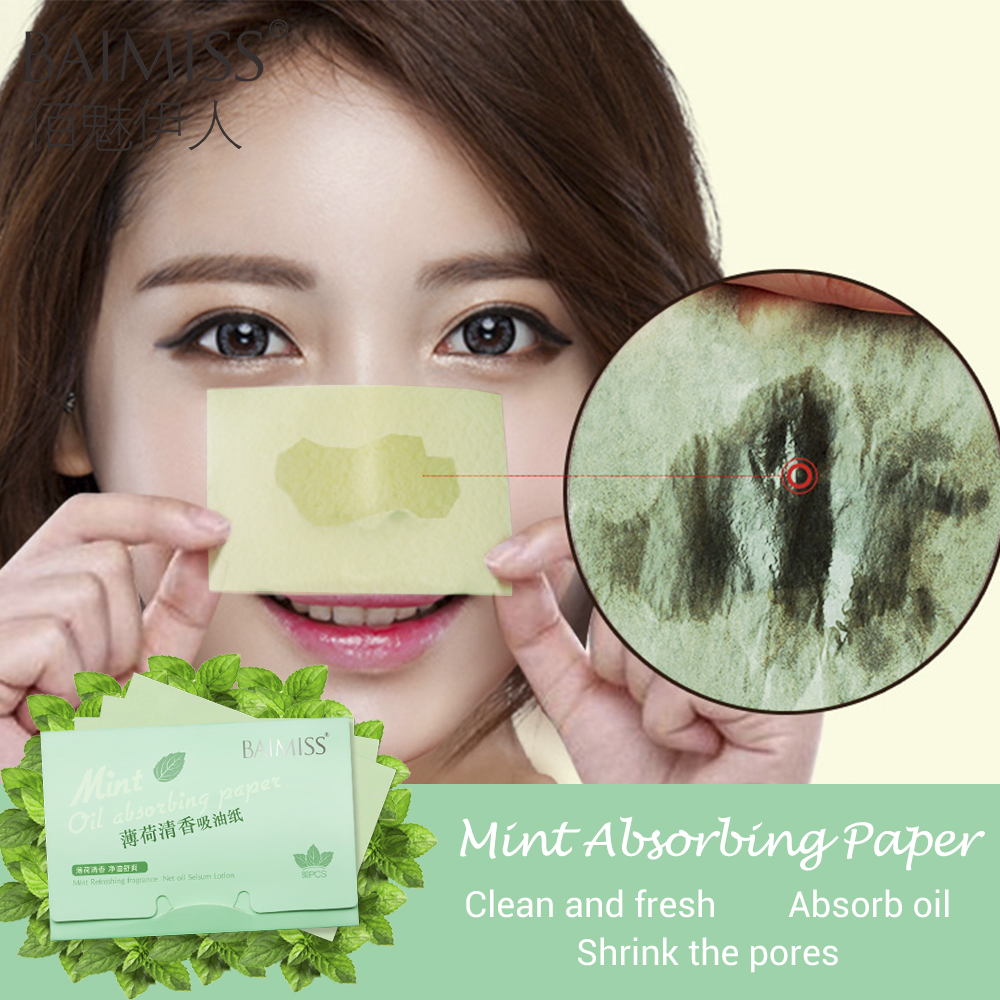 BAIMISS Mint Absorbent Paper Face Oil Control Tool Deep Cleanser Oil Absorbing Sheets Blackhead Acne Remover Shrink Pores 80pcs