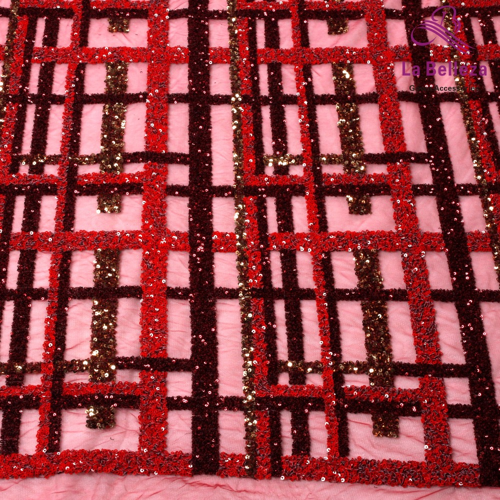 La Belleza 1 yard Wine red sequins embroidered wedding evinging show dress lace fabric 51 width