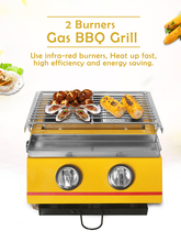 Yellow BBQ Grill Smokeless Spray Paint 2 Burners for Kebab Meat Seafood Glass Stove Shield Outdoor Grill Camping Party Stove hawksmoor at home meat seafood sides breakfasts puddings cocktails