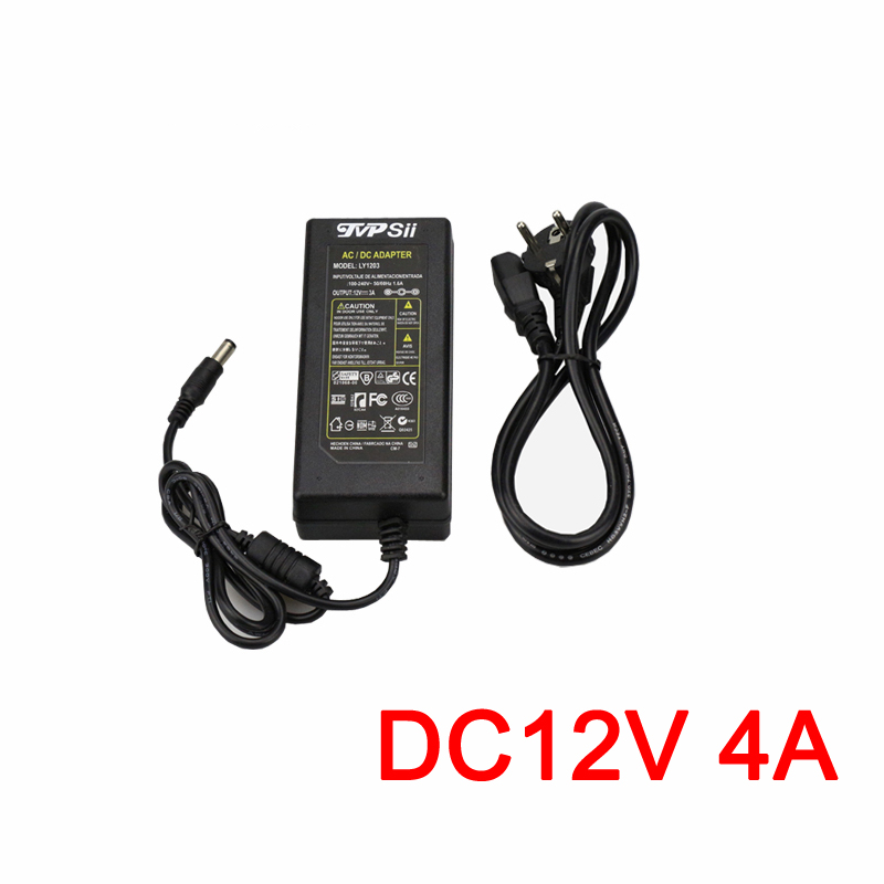 DC 12V 4A Monitor Power Supply Surveillance Camera Waterproof Power Adapter For Ip Camera /AHD Camera/CCTV Camera 10pcs lot dc 12v 1a switch power supply adapter for cctv camera