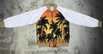 Men Varsity Jacket | Coconut Tree Printed Designer Bomber Jacket Kpop Unisex Stand Collar Raglan Varsity Jacket Free Shipping