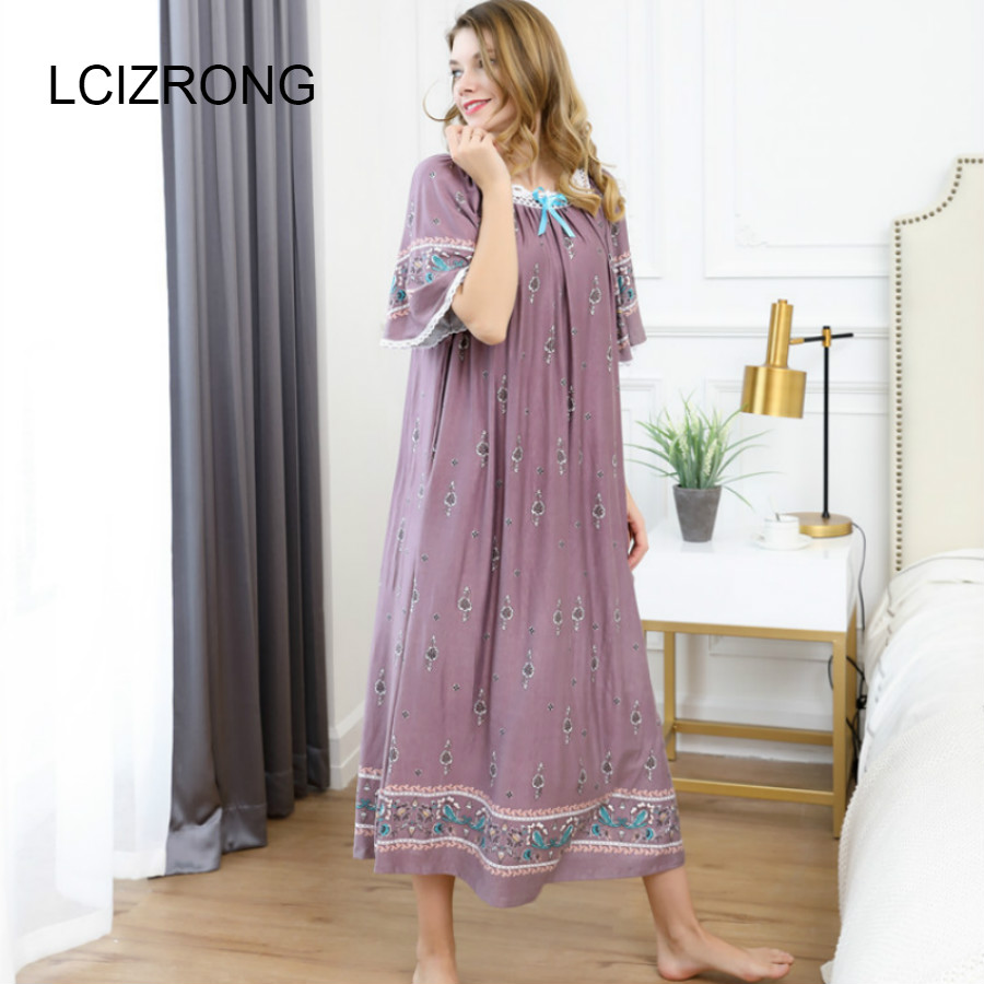 Summer Elegant Embroidery Women Fat Nightgowns Sleep Home Dress Female Loose Mom Girl Night Dress Ladies Sleepwear Long Nuisette