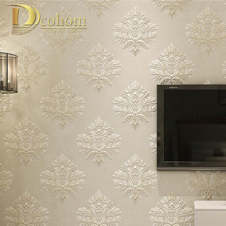 Simple European Embossed Damask Wallpaper For Walls 3 D Damask Luxury Bedroom Decor Modern Wall paper Rolls Beige Khaki Grey modern wallpaper for walls black white leaves pattern bedroom living room sofa tv home decor luxury european wall paper rolls