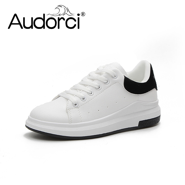 08ad5647c7 Audorci Women Fashion Casual Plat Shoes PU Leather Classic Woman Casual Lace -up White Spring Shoe Sneakers Size 35-40