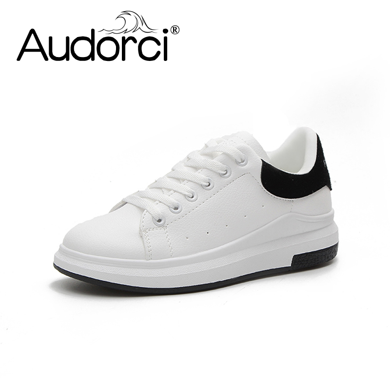 Audorci Women Fashion Casual Plat Shoes PU Leather Classic Woman Casual Lace-up White Spring Shoe Sneakers Size 35-40