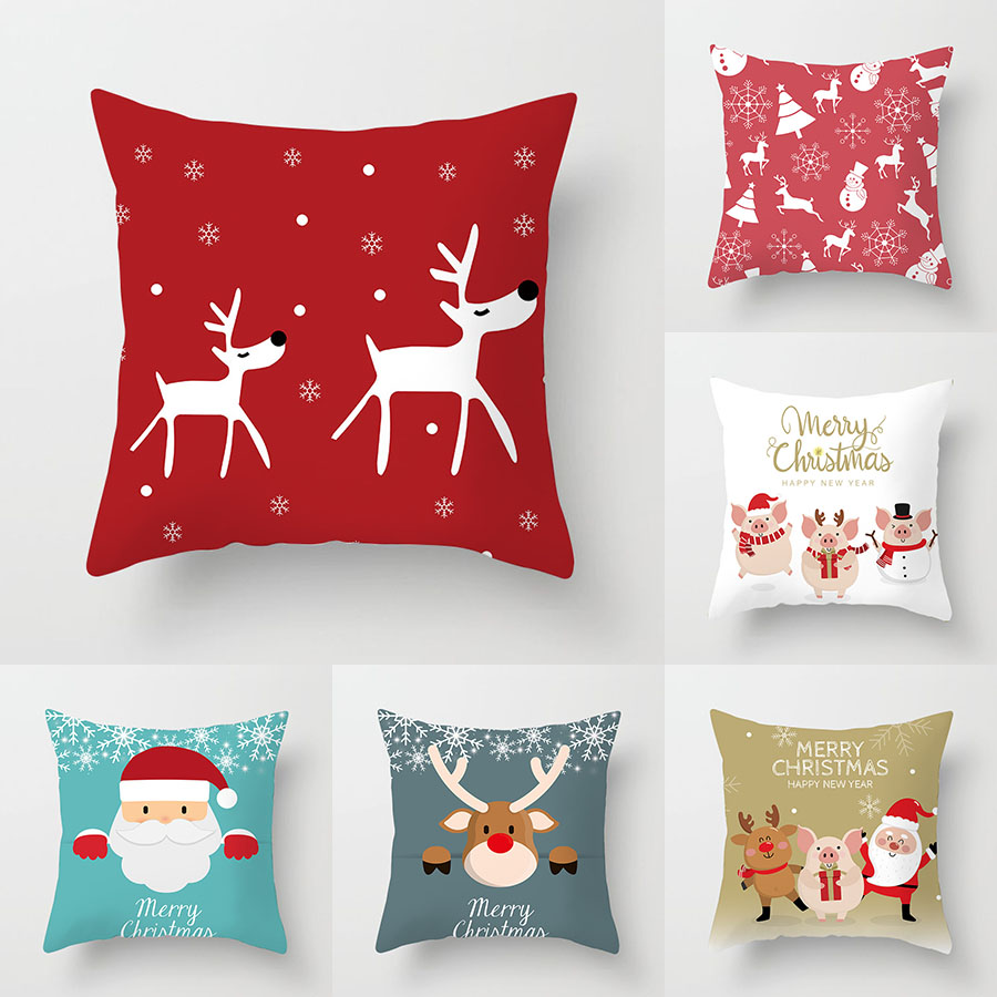 YWZN Merry Christmas Decorative Pillowcases Polyester Christmas Cartoon Santa Claus Elk Throw Pillow Case Cover Pillowcase