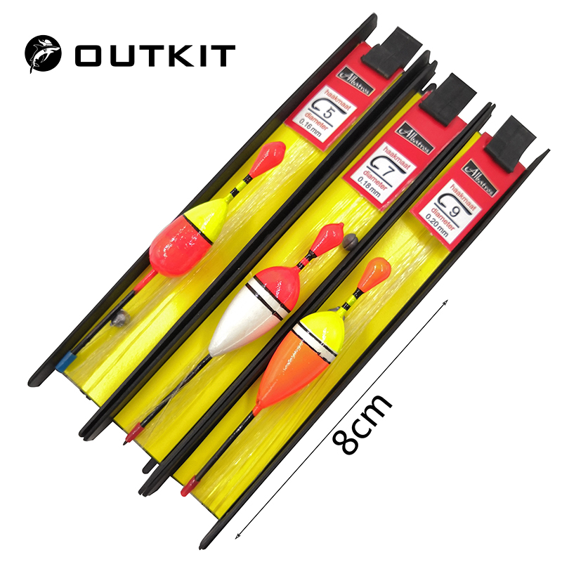 OUTKIT 3 Pcs/Lot 8cm Vertical Buoy Fishing Float Set Wood Fishing Floats Pesca Fishing Tackle Tiple Suit Accessories