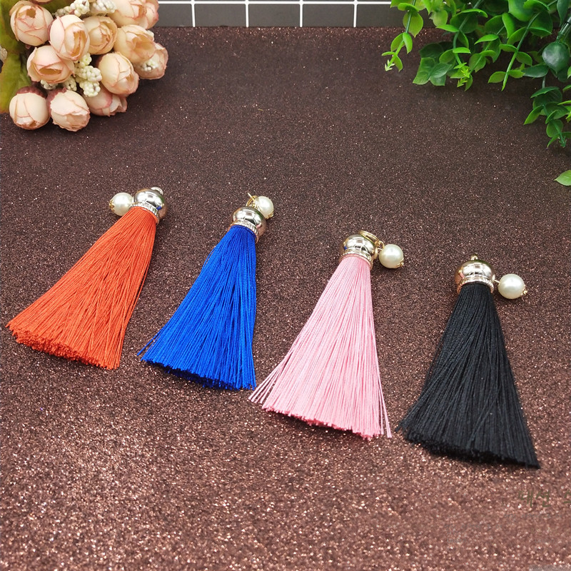 50/100PCS Pink/Black/Blue/Orange Lipstick Tube Accessories Tassel Silk Cosmetic Lip Rouge ornament Tassel Pearl Key ring pendant комплект белья pink lipstick