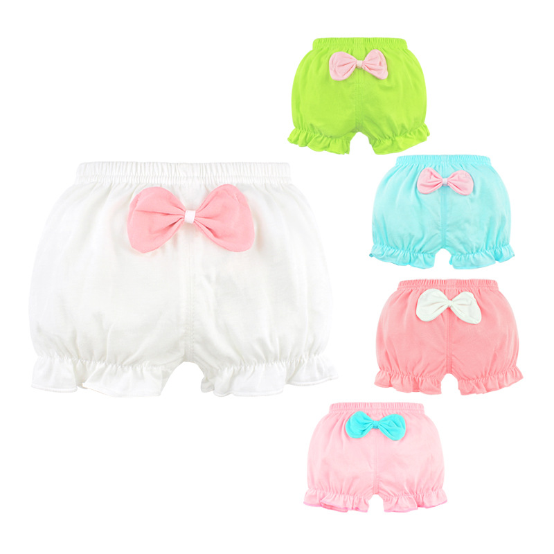 Baby 100%Cotton Panties.Girls' Briefs Female For Children Underwear Shorts Kids Lovely Solid Bow Underpants Cute Clothe CN