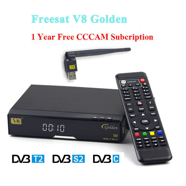 V8 Golden HD Satellite Receiver+1 year Europe cccam Cline USB Wifi DVB-T2+S2/C receptor Satellite support Powervu Patch Youtube wholesale freesat v7 hd dvb s2 receptor satellite decoder v8 usb wifi hd 1080p support biss key powervu satellite receiver