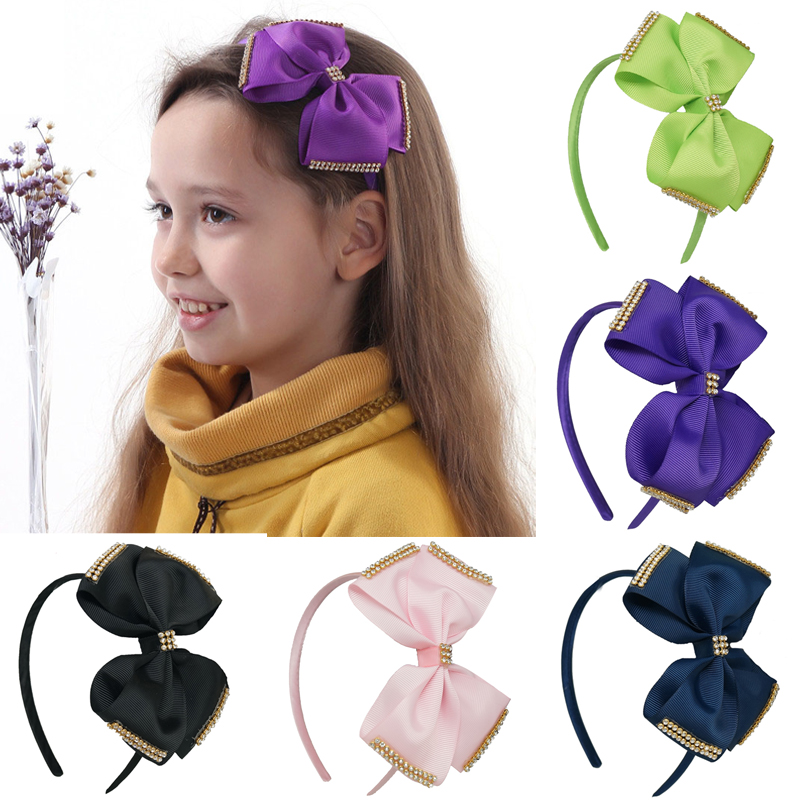 2pcs/lot Boutique Rhinestone Bows Hairbands For Kids Girls Handmade Solid Bling Ribbon Hair Bows Headbands Hair Accessories