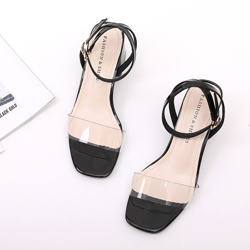 2019 Women Sandals High Heels Sandals Summer Beige Black Red Female Shoes Transparent Casual Lady Shoes Woman Footwear in High Heels from Shoes