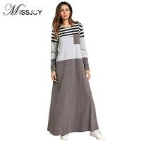 MISSJOY Dubai abaya Muslim Dresses Women Islamic Arab robe Striped Cotton Contrast color Casual Maxi vestidos Middle Eastern