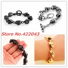 Newest Punk Skeleton Style Boy s Cool 22cm Bracelet Stainless Steel Skull Heads Bangles for Mens