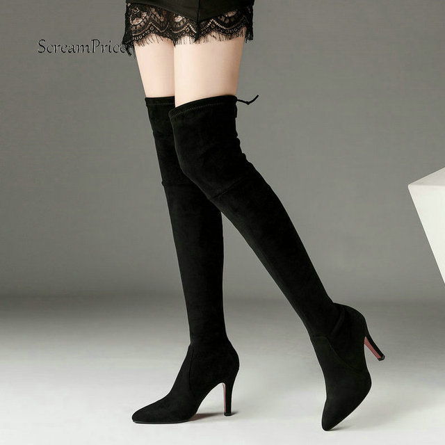 c605e41b1e6 Ladies Suede Lace Up Thin High Heel Over the Knee Boots Fashion Pointed Toe  Slip On Women Warm Winter Stretch Thigh Boots Black