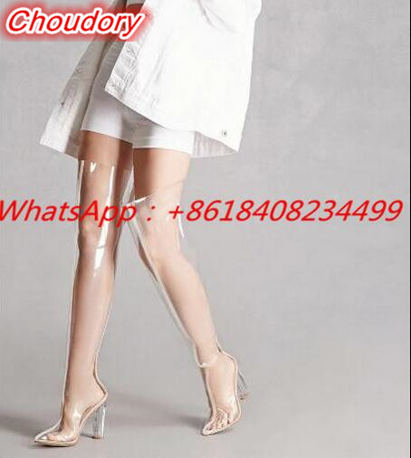 Rain Boot Clear Perspex High Boots PVC Chunky Crystal Heels Transparent Booties Over Knee font b