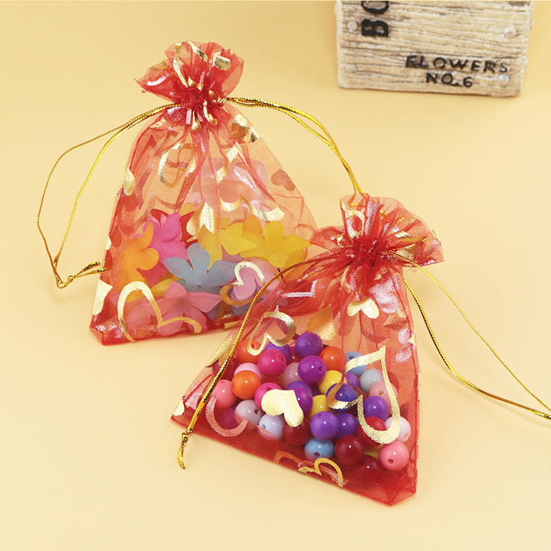 fe1262a9a 100pcs 11x16cm Red Heart Bags Jewelry Packing Bags black Organza Bags  Pretty Pouches Wedding/Candy Gift Bags Free Shipping-in Jewelry Packaging &  Display ...