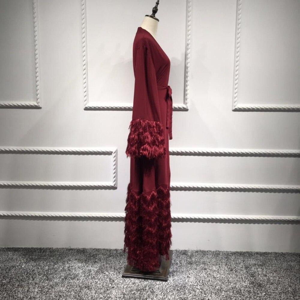 2019 New Maxi Dress Stylish Elegant And Noble Dubai Cardigan Robe Muslim Hairy Lace Robes Dress Elegant Women's Party Dress