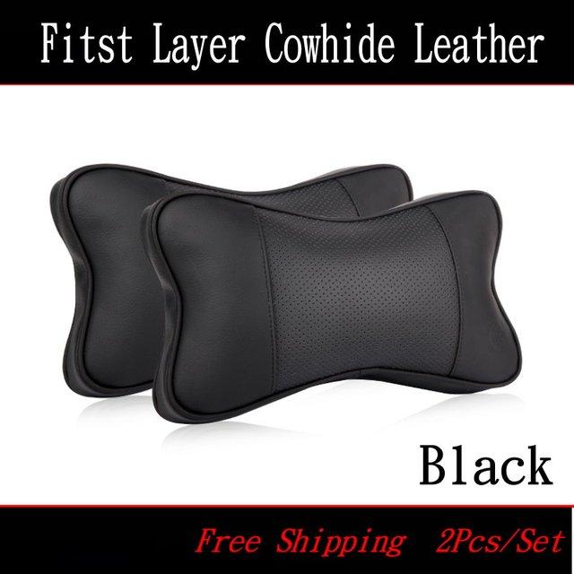 For Cadillac Car head pillow / Four seasons Seat head pillow / A pair of genuine leather Car Headrest / 3D Bone Neck Pillow