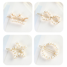 New Fashion Gold Color 1PC Pearl Imitation Hair Clip Snap Barrette Stick Hairpin Hair Styling Accessories For Women Girls