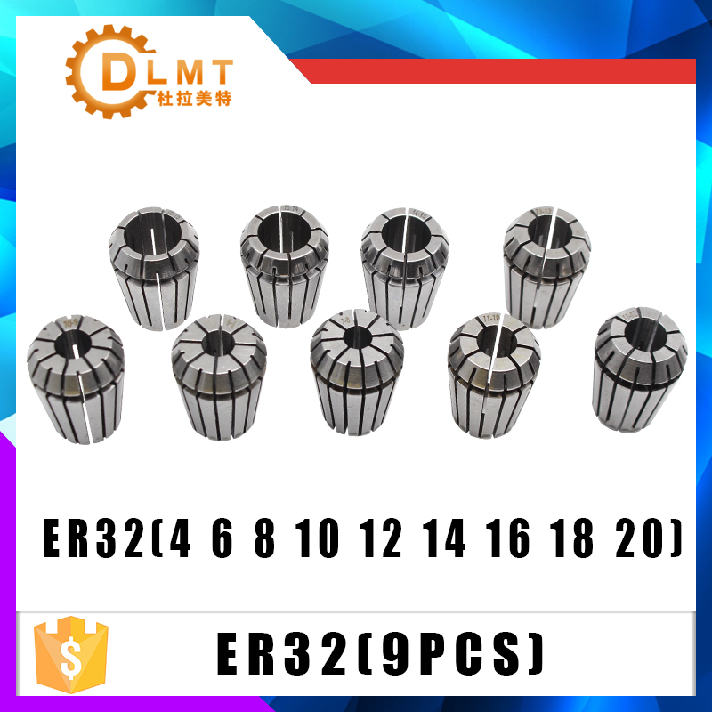 ER32 9PCs Clamp Set 4mm To 20mm Range For Milling CNC Engraving Machine Tool Motor Axis