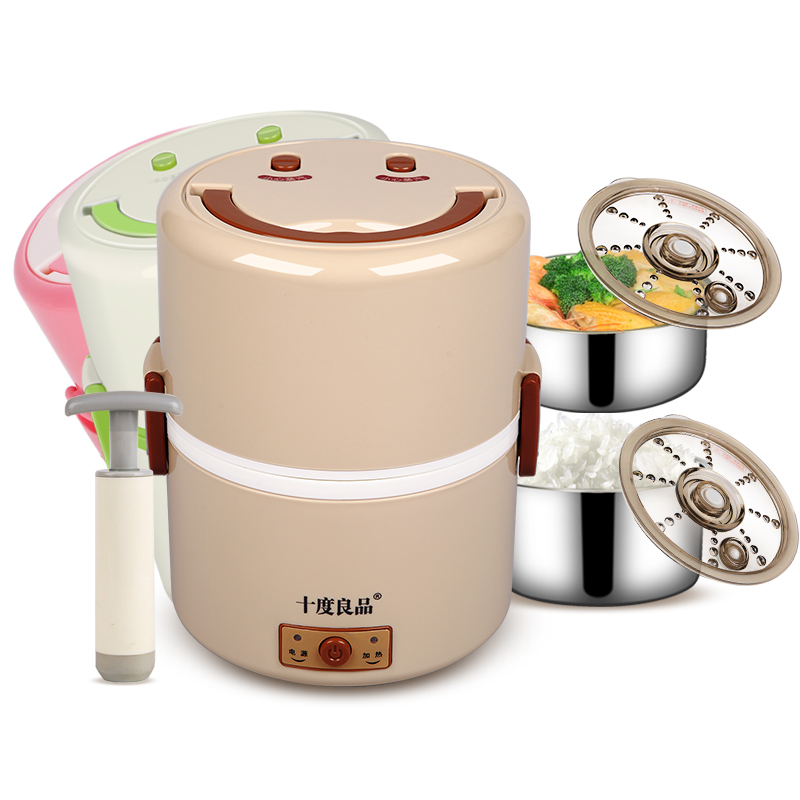 Electric Lunchbox Double Plug In Insulation Heating Cooking Electric Lunch Box Steamed Rice 1.2L 1-2 People double layer independent vacuum preservation electric lunch box plug in insulation heating lunch box cooking steamed rice cooker