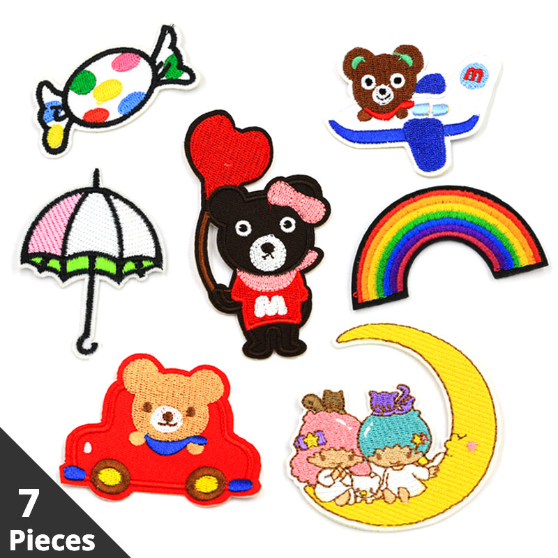 7 Pieces Lot Stripe Cartoon Patch for Clothing Bear Cloth Stickers Iron on Patches Clothes Applications Badges Accessories