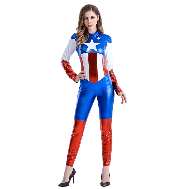 Captain America Cosplay Costume Women Carnival Costume Fancy Party Dress Up Superhero Costumes  Captain Women Jumpsuits Tights