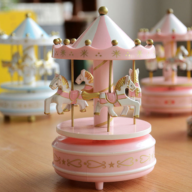 DIY Wooden Doll House Merry-go-round Music Wood Box Craft Creative Music Gift For Kid