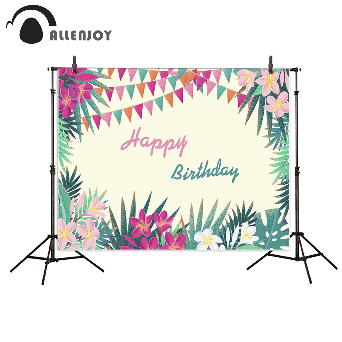 Allenjoy photography backdrop Tropical Plant Red Flower Banner Birthday Happy Theme back ...