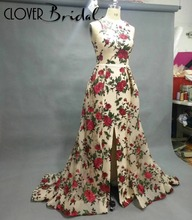 CloverBridal new 2018 printed flowers red carpet celebrity dresses for women party sleeveless A-line front slit