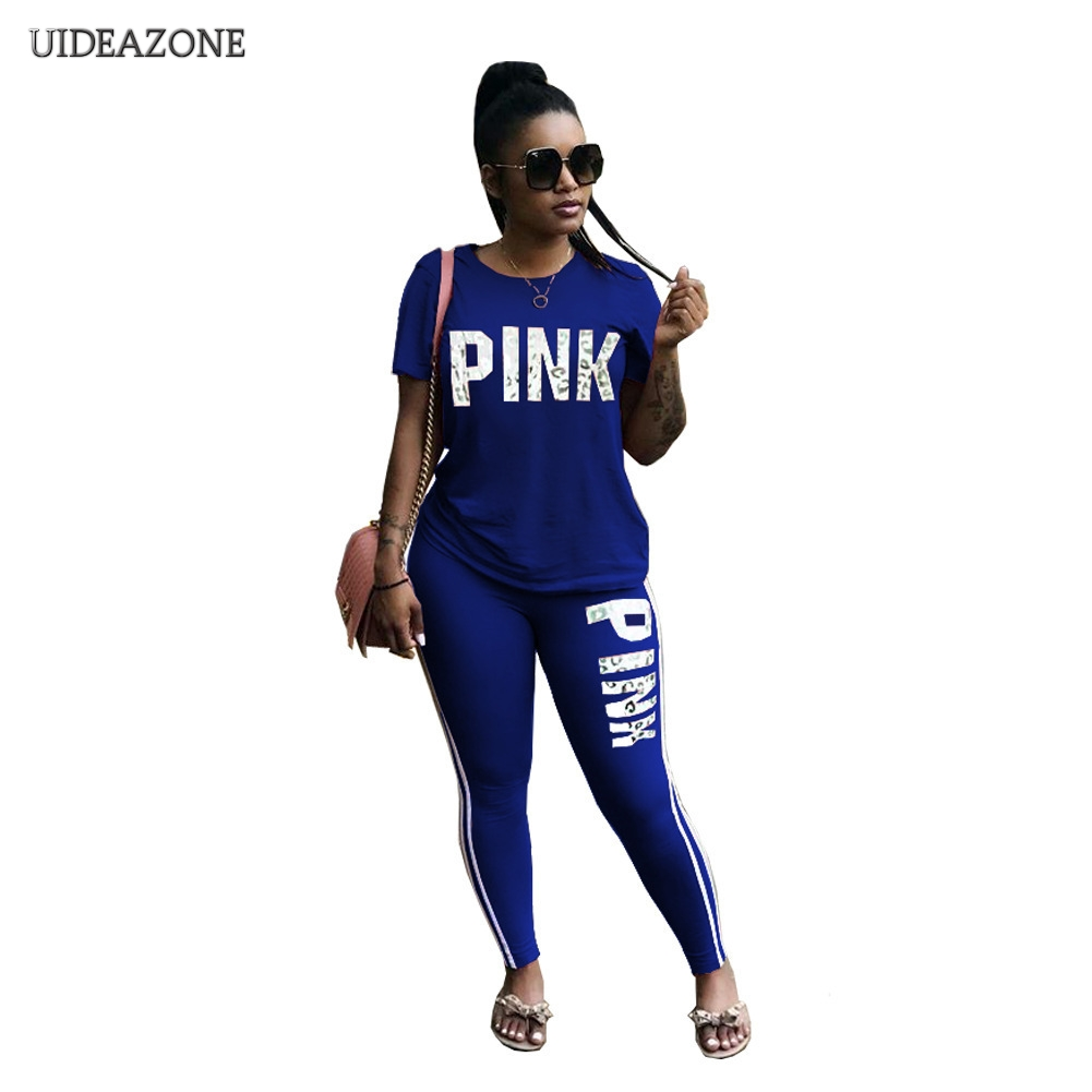 Women Pink Letter Printed Sexy Casual 2 Piece Set Plus Size Tops Skinny Pants Sweatsuits Two Piece Tracksuit Streetwear S-3XL