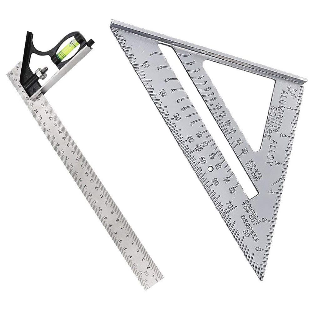 Adjustable Engineer Ruler -2 Piece 300mm Adjustable And Measuring Square Ruler Engineer Combination Try Square Set Right Angle