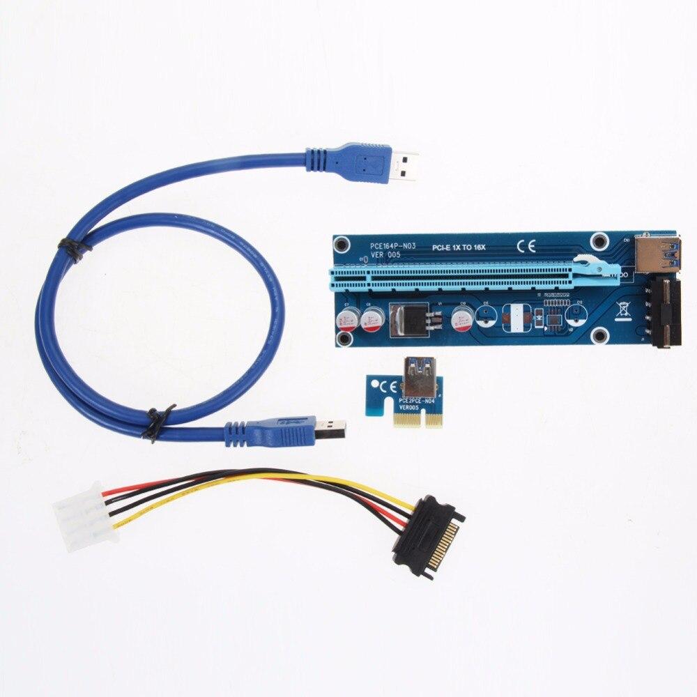 USB 3.0 PCI-E Express Powered Riser Card W/Extender Cable 1x a 16x Monero Nuovo trasporto di Goccia-PC amico