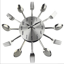 Large 3D wall clock modern design stainless steel metal kitchen tableware silent living room decoration