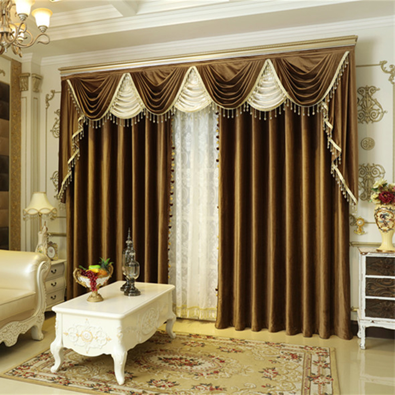 New Solid Color Dutch Velvet Valance Window Curtains Fabric European Curtain In Living Room Blackout Pelmet Drapes For Bedroom