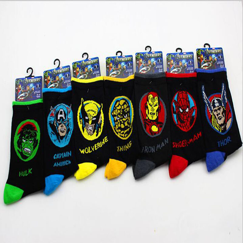1pair Superman cartoon   socks   New Fashion Cute Avenger Union   Socks   Men Colored Superhero   Sock   Superman Spiderman Hulk Cartoon Sox