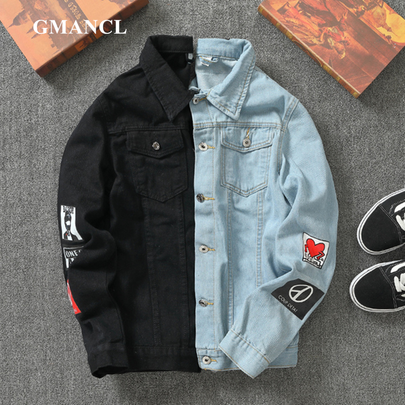 Men Streetwear Badge Printed Jeans Jackets Fashion Hip Hop Male Motorcycle Casual Slim Fit Denim Coat Outerwear Plus Size 5XL