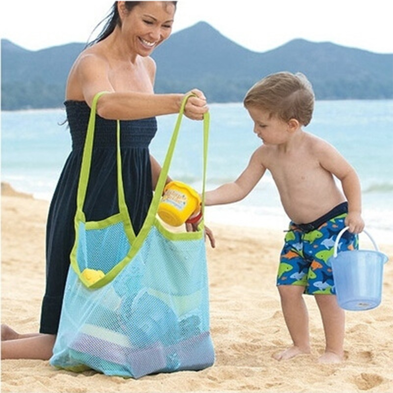 Kids Beach Toys Sand Away Bags Blue/Green Color Matching Children Mesh Tool Storage Bag Larger Capacity Baby Toys Beach Backpack
