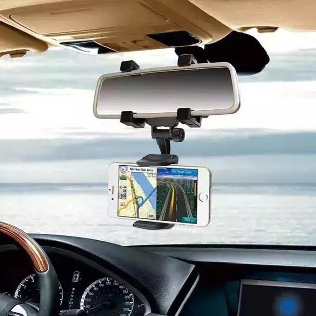 JEREFISH Universal Car Rearview Mirror Mount Holder Phone Stand Cradle Mechanical Clamp for iPhone 7 8 8Plus X Cell Phone