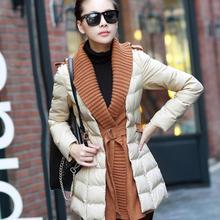 2016 новый женщины зима PU вниз парки пальто тонкий утолщение куртки, дамы сращены свитер пальто верхняя одежда плюс размер