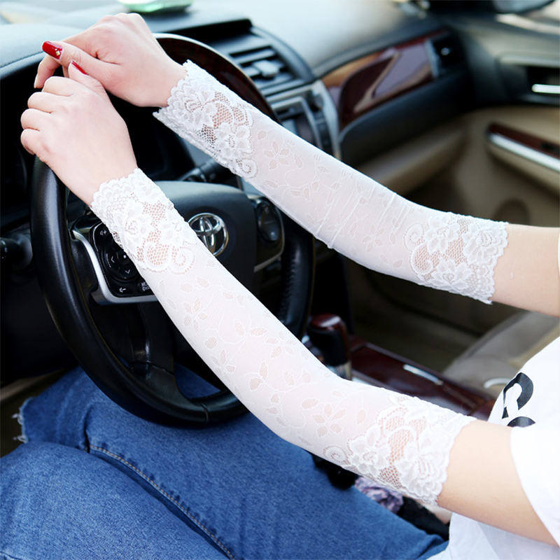 2pcs 38cm Long Lace Sexy Wrist Sleeve Breathable Bracers Anti-Uv Lace Pattern Woman Arm Sleeve Clothing Accessories Hot Sale