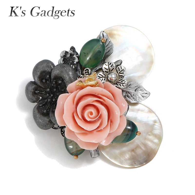 Ks Gadgets Natural Shell Brooches Vintage Brooches Handmade  Pink Coral Camellia Flower Big Pins and BroochesKs Gadgets Natural Shell Brooches Vintage Brooches Handmade  Pink Coral Camellia Flower Big Pins and Brooches