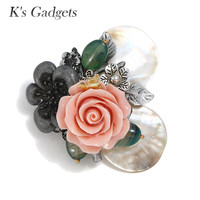 K's Gadgets Natural Shell Brooches Vintage Brooches Handmade Pink Coral Camellia Flower Big Pins and Brooches