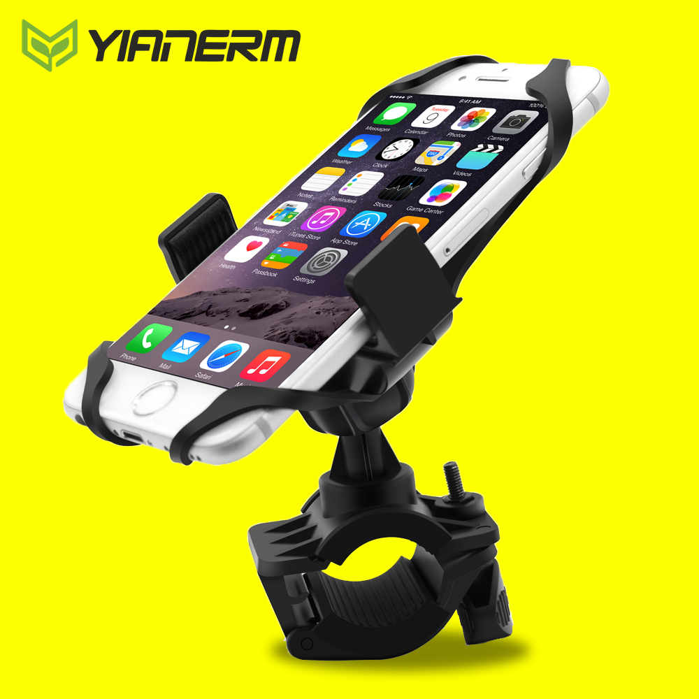 Yianerm MTB Bike Phone Holder Secure Band Clip Grip Bicycle Handlebar Phone Mount Bracket For iPhone 6 6s 7 Plus,Samsung,GPS