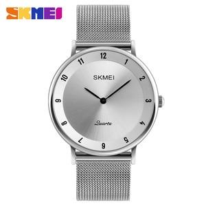 Image 2 - SKMEI prosty Ultra cienki zegarek kwarcowy siatka ze stali nierdzewnej zegarki męskie z paskiem moda wodoodporny zegar mężczyźni casualowe zegarki na rękę