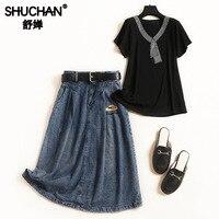 Shuchan Casual Cotton Designer 2 Piece Set Women Black T shirt+denim Skirt Fashionable Sets for Women 2019 Everyday Suits 11560